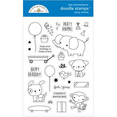 Doodlebug Party Time Clear Stamps - Party Animals