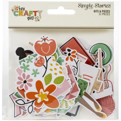Simple Stories Hey, Crafty Girl Die Cuts - Bits & Pieces