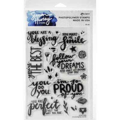 Simon Hurley Create Cling Stamps - Encouraging Words