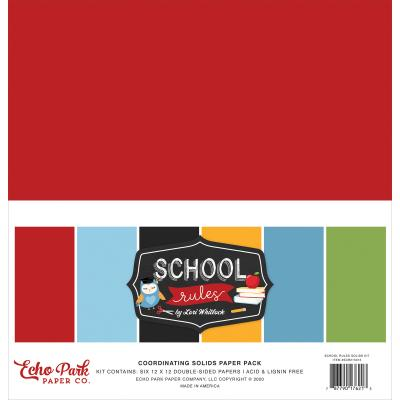 Echo Park School Rules Cardstock - Solids Kit