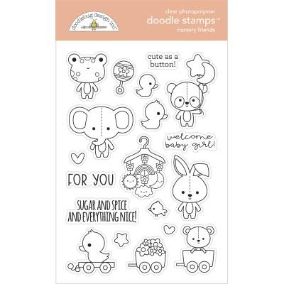 Doodlebug Baby Girl Doodle Stamps - Nursery Friends