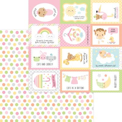 Doodlebug Baby Girl Designpapier - Cute As A Button