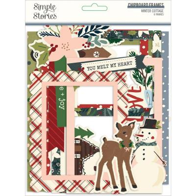 Simple Stories Winter Cottage Die Cuts - Layered Chipboard Frames