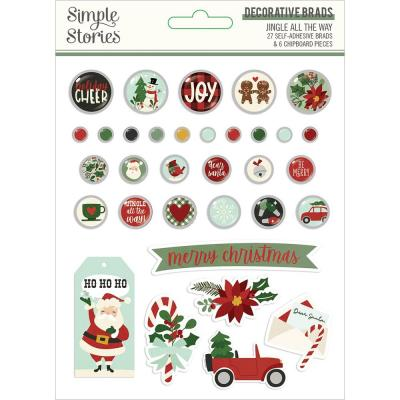 Simple Stories Jingle All The Way Embellishments - Decorative Brads