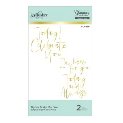 Spellbinders Hot Foil Plate - Stylish Script For You Glimmer