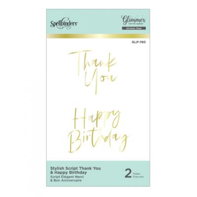 Spellbinders Hot Foil Plate - Stylish Script Thank You and Happy Birthday Glimmer