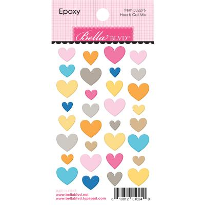 Bella BLVD Chloe Epoxy Sticker - Hearts Cat Mix