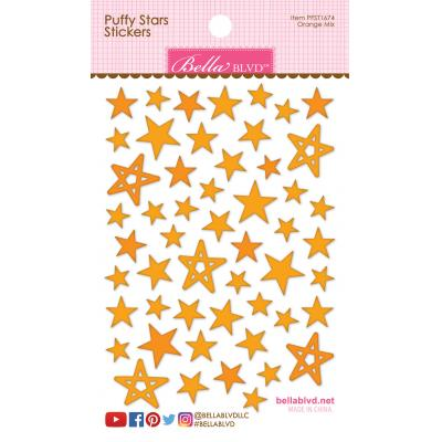 Bella BLVD Chloe Sticker -  Orange Mix Puffy Stars Stickers