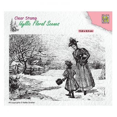 Nellie's Choice Clear Stamp - Vintage Wintery Scene