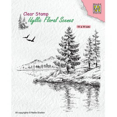 Nellie's Choice Clear Stamp - Wintery Water's Edge
