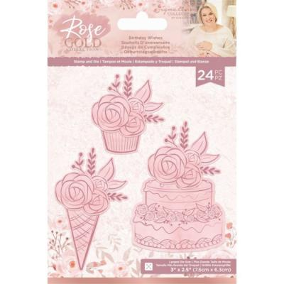 Crafter's Companion Rose Gold Clear Stamps And Dies - Birthday Wishes