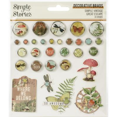 Simple Stories Simple Vintage Great Escape - Decorative Brads