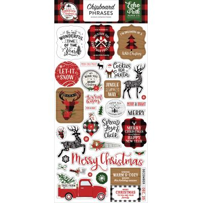 Echo Park A Lumberjack Christmas Sticker - Chipboard Phrases