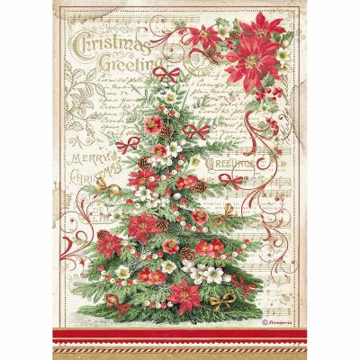Stamperia Rice Paper - Christmas Greetings Tree