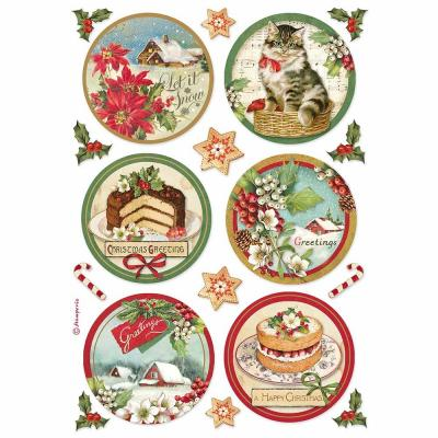 Stamperia Rice Paper - Happy Christmas Round
