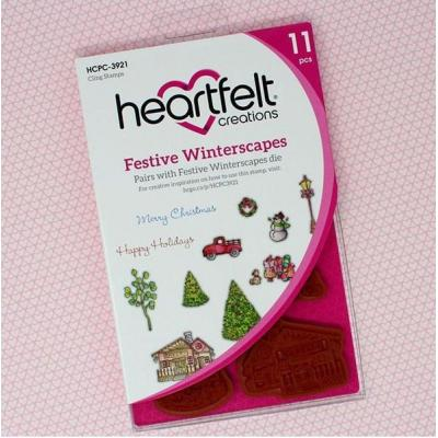 Heartfelt Creations Cling Rubber Stamp Set - Festive Winterscapes