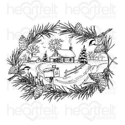 Heartfelt Creations Cling Rubber Stamp Set -  Snowy Pines Cabin