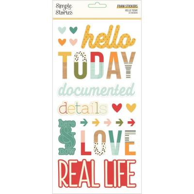 Simple Stories Hello Today - Foam Stickers