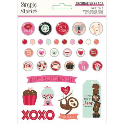 Simple Stories Sweet Talk Embellishments - Decorative Brads