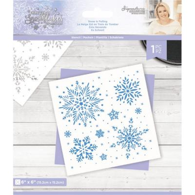 Crafter's Companion Glittering Snowflakes Stencil - Snow Is Falling