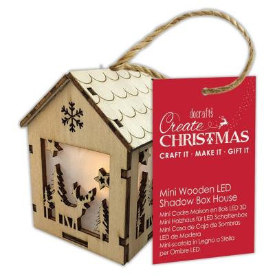 Papermania Mini Wooden LED Shadow Box House - Winter Stag