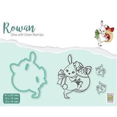 Nellie's Choice Clear Stamps & Dies - Christmas Rabbit