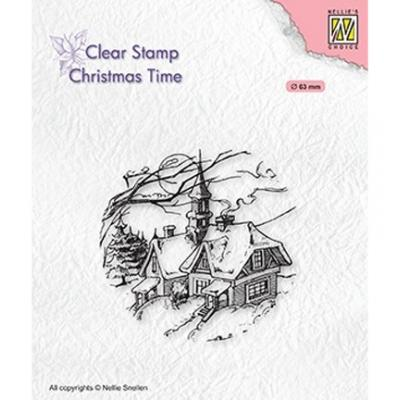 Nellie's Choice Clear Stamp - Christmas Time Snowy Christmas Scene