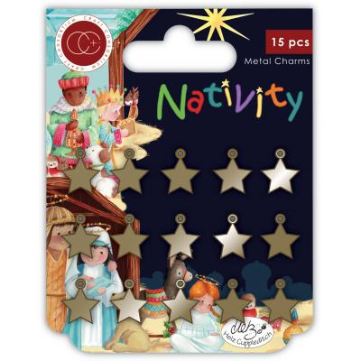 Craft Consortium Nativity - Metal Charms Stars