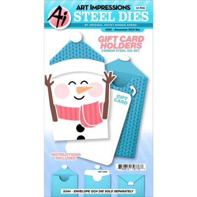 Art Impressions Gift Card Holders Stamp & Die Set - Snowman