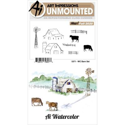 Art Impressions Watercolor Cling Rubber Stamps - Barn