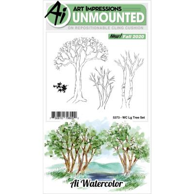 Art Impressions Watercolor Cling Rubber Stamps - Large Tree