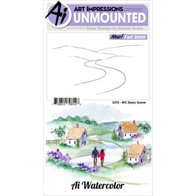 Art Impressions Watercolor Clear Stamp - Basic Scene