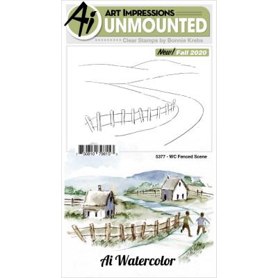 Art Impressions Watercolor Clear Stamp - Fenced Scene
