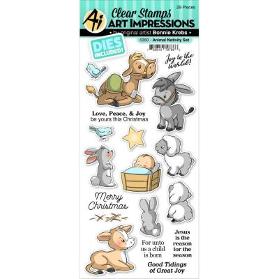 Art Impressions Christmas Clear Stamp & Die Set -  Animal Nativity