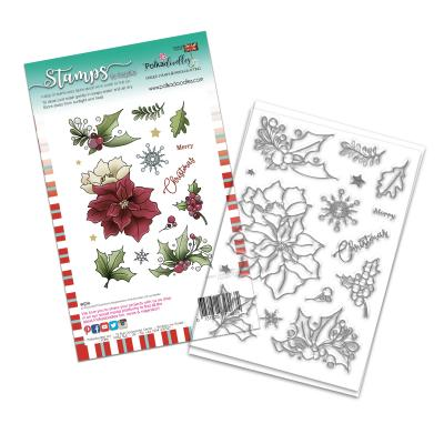 Polkadoodles Clear Stamps - Merry Christmas Poinsettia