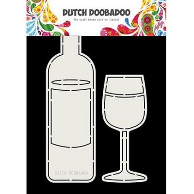 Dutch DooBaDoo Card Art - Wine Bottle and Glass