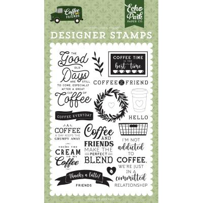 Echo Park Coffee & Friends Clear Stamps - Coffee Addict