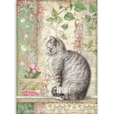 Stamperia Orchids and Cats Rice Paper - Cat