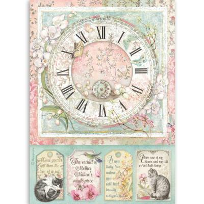 Stamperia Orchids and Cats Rice Paper - Clock