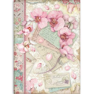 Stamperia Orchids and Cats Rice Paper - Pink Orchid
