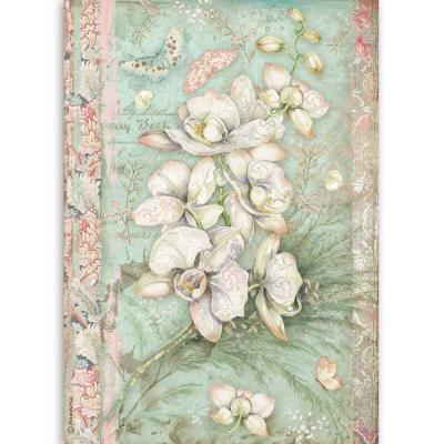 Stamperia Orchids and Cats Rice Paper - White Orchid