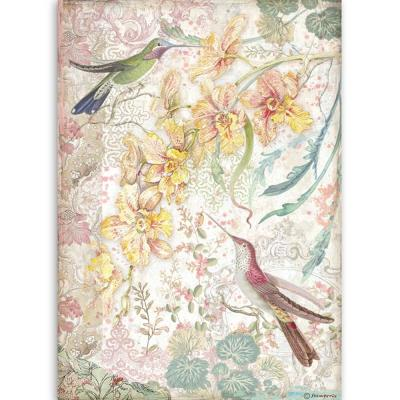Stamperia Orchids and Cats Rice Paper - Yellow Orchids And Birds