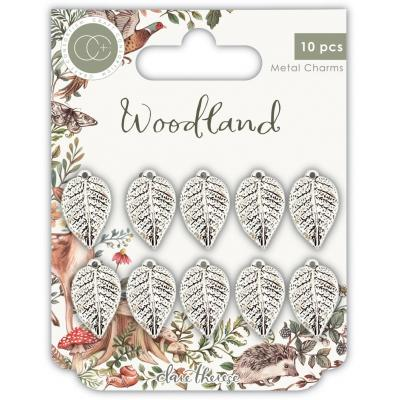 Craft Consortium Woodland Metal Charms - Silver Leaf