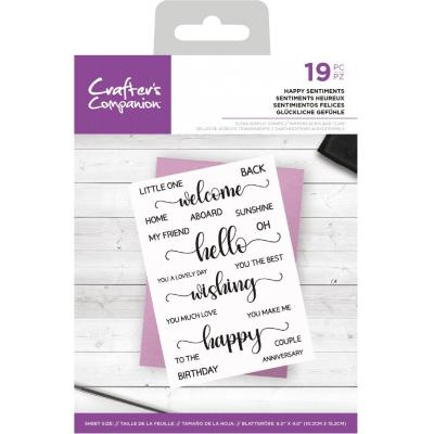 Crafter's Companion Clear Stamps - Happy Sentiment