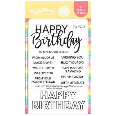 Waffle Flower Crafts Clear Stamps - Happy Birthday Sentiments