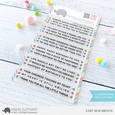 Mama Elephant Clear Stamps - Easy Sentiments