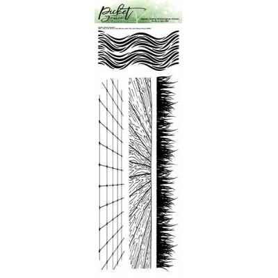 Picket Fence Studios Clear Stamps - Slim Line Grass And Waves With Tile And Wood Floor