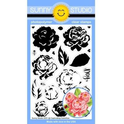 Sunny Studio Clear Stamps - Captivating Camellias