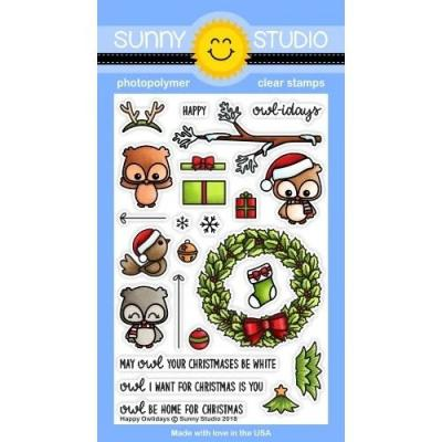 Sunny Studio Clear Stamps - Happy Owlidays