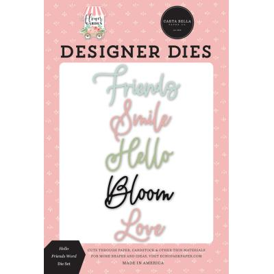 Carta Bella Flower Garden Dies - Hello Friends Word